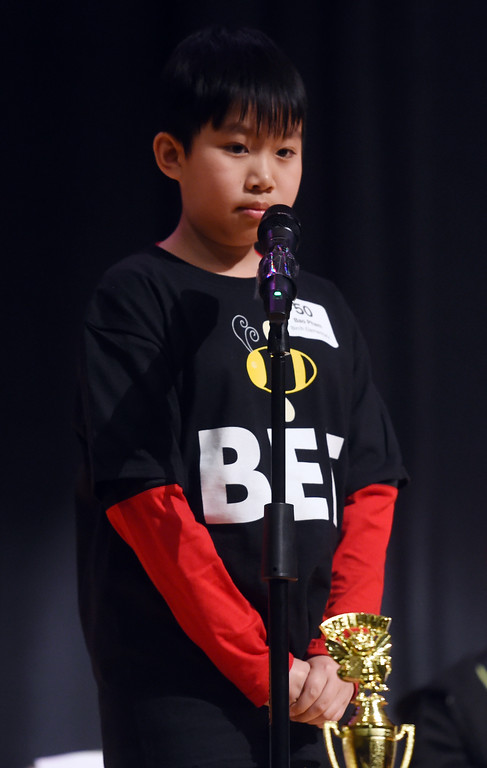 . Bao Pham, a Birch Elementary 5th-grader, wins  the Barnes & Noble Regional Bee Speller  at Platt Middle School.  Cliff Grassmick / Staff Photographer/ February 10, 2018