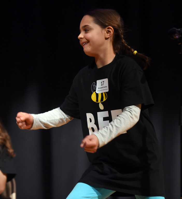 . Annabelle Gochis, a fifth-grader, reacts to getting a word correct during the Barnes & Noble Regional Bee Speller  at Platt Middle School.  Cliff Grassmick / Staff Photographer/ February 10, 2018