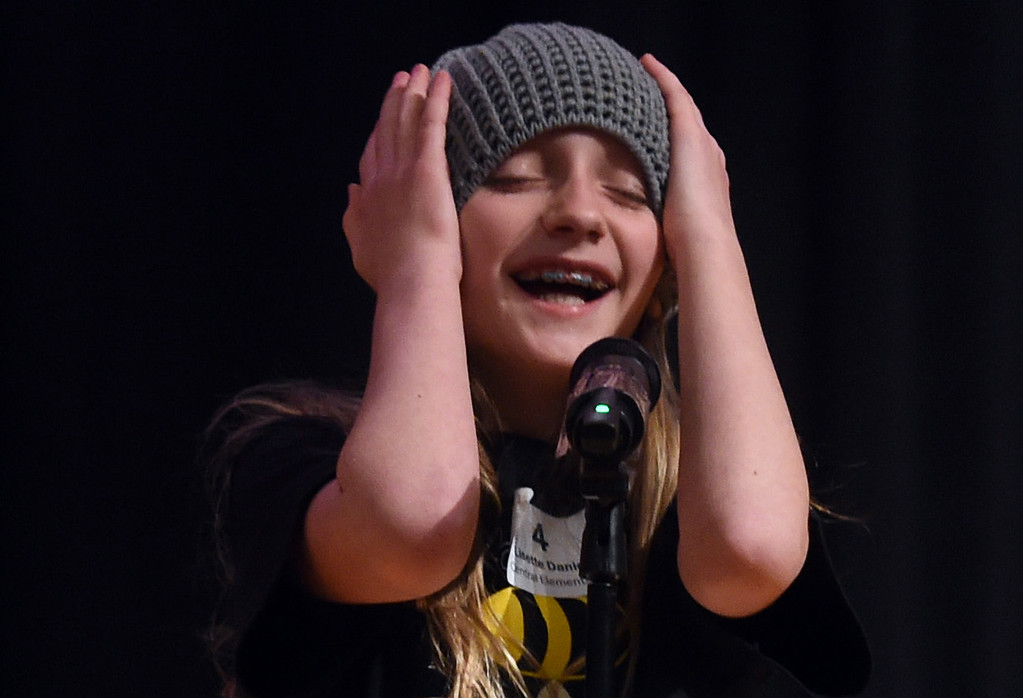 . Lisette Daniel, a 5th-grader, was very expressive when she was up during the Barnes & Noble Regional Bee Speller  at Platt Middle School.  Cliff Grassmick / Staff Photographer/ February 10, 2018