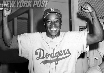Sandy Amoros is ecstatic after the World Series win over the Yankees! 1955