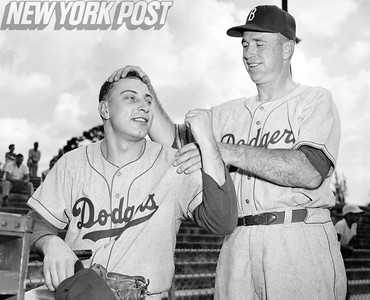 Johnny Podres and Walter Alston at Dodgers Spring Training Camp February 28, 1956.