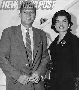 Senator John F. Kennedy and his wife Jacqueline Onassis. 1955