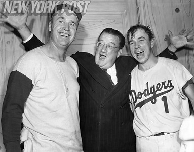 Walter O' Malley With Walt Alston and Pee Wee Reese After World Series Game 6 Win. 1956