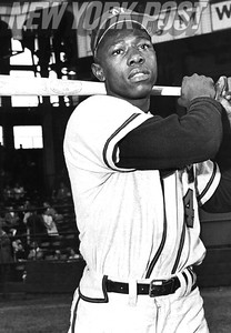 "Famous Photo by Barney Stein of Henry ""Hank"" Aaron."
