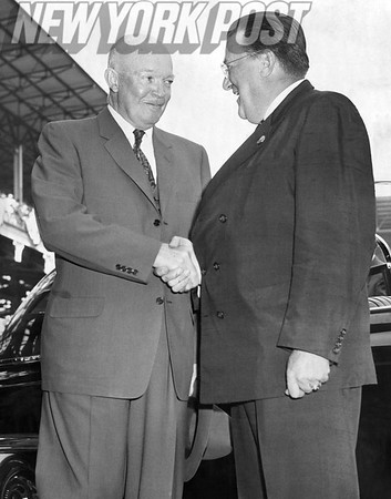 Walter O'Malley greets President Dwight D. Eisenhower to Brooklyn Dodgers' Ebbets Field. 1957
