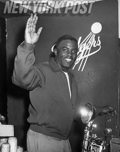 Jackie Robinson in Brooklyn Dodgers Locker Room. 1954
