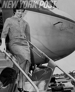 First lady Jacqueline Kennedy exits her private plane at LaGuardia Airport. 1961