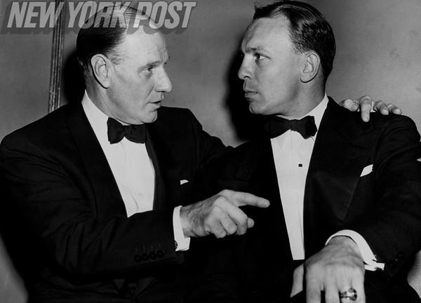 Managers Eddie Stanky and Leo Durocher in their finest evening wear. 1952