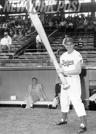 Brooklyn Dodgers' Gil Hodges carries a big stick. 1951