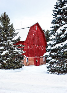 Snowy Red Christmas Barn: Suttons Bay, Michigan