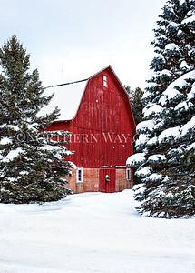 Snowy Red Christmas Barn: Suttons Bay, Michigan