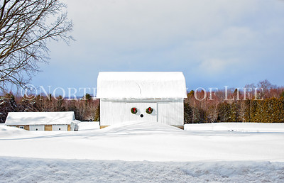 Snowy Christmas barn near Lake Leelanau, Michigan