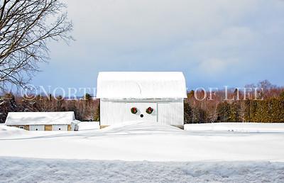 Snowy Christmas barn: Lake Leelanau, Michigan