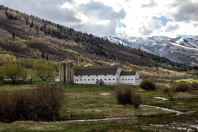 McPolin Farm Barn and valley - mountains background along Hwy 224 Park City UT  4-29-16