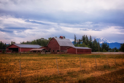 Old Barn Hwy 410 near Enumclaw WA Mt Rainier Background