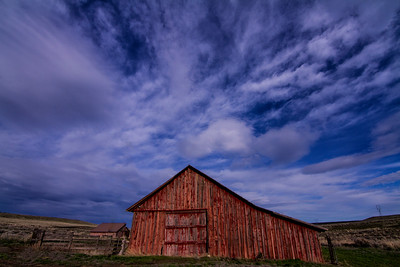 Old red barn blue cloudy sky Bickleton Mabton Hwy farm 3-29-15 - Copy