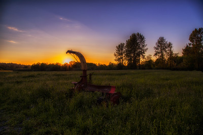 Meadowbrook Farm Sunset Silage Chopper foreground 6-4-15
