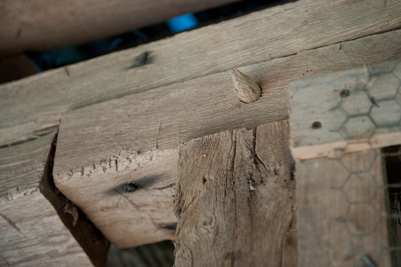 Mortise, and, Tenon, Joint, construction, with, wood, peg, used, in, the, Will, Whitner, Barn.