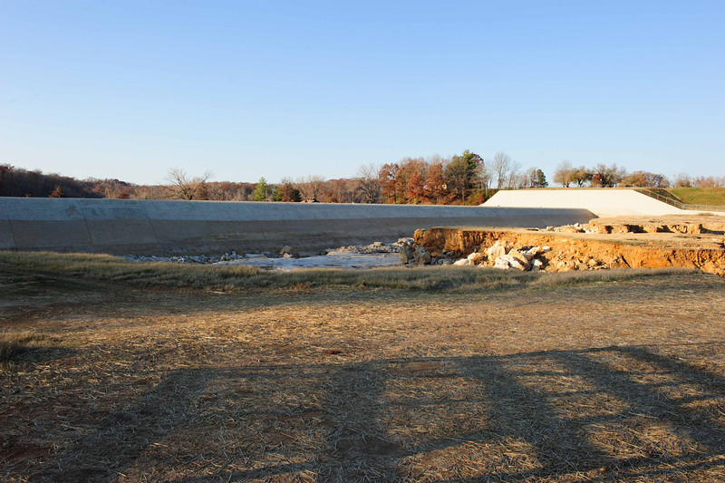 Damage from the May 2011 Flooding over the spillway