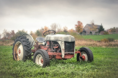 tractor and house
