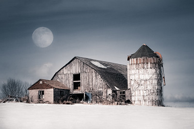 Barn and Winter moon