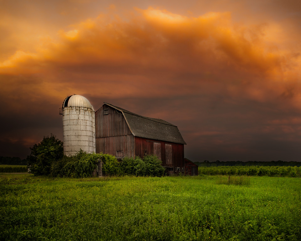 barn and stormy sky