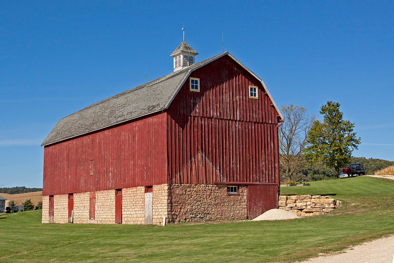 Stone and wood barn