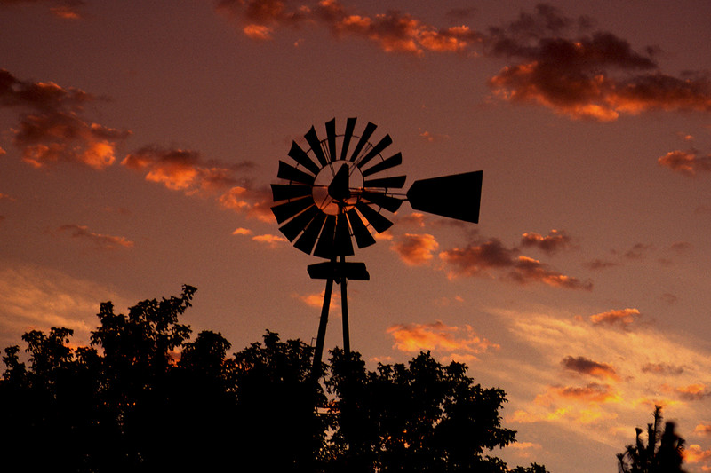 Windmill Silhouette in evening Sunset