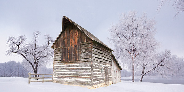 Log barn & Snow Scene