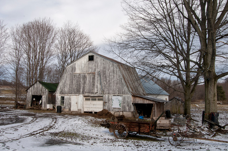 Old barn on an Amish farm in southern Madison County