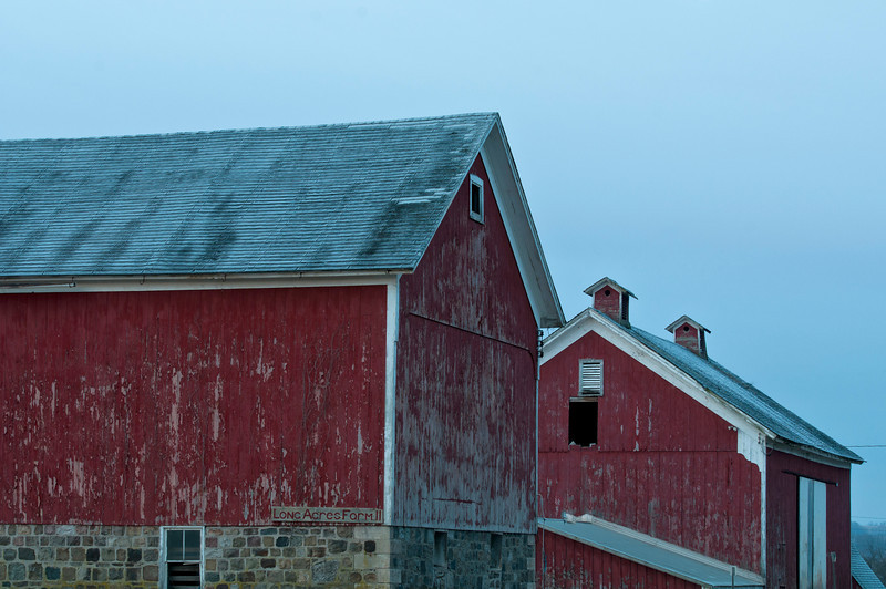 February 8 - With the moon setting at 7:08 and the sun rising at 7:09 today coupled with partly cloudy skies I headed out early to photograph the potentially fantastic light.  The clouds rolled in and I saw neither the moon nor sun.  It did capture this old barn.  I'd say it was a success!  On NYS Route 8.
