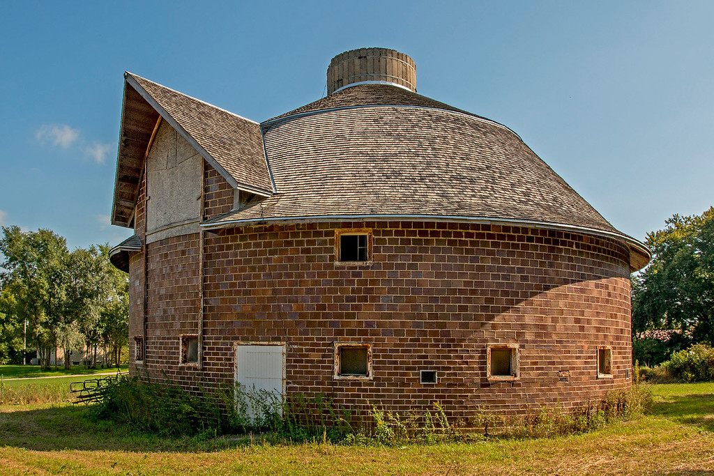 Restored clay tile round barn.