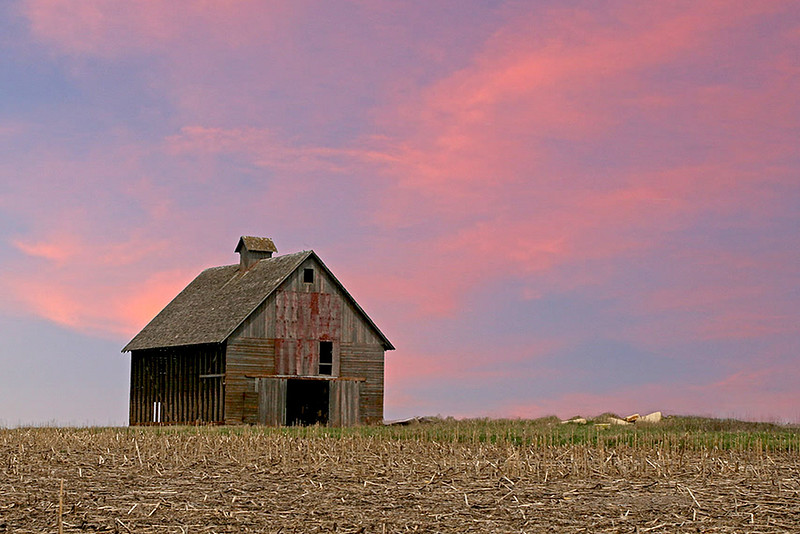 Setting Sun & Corn Crib
