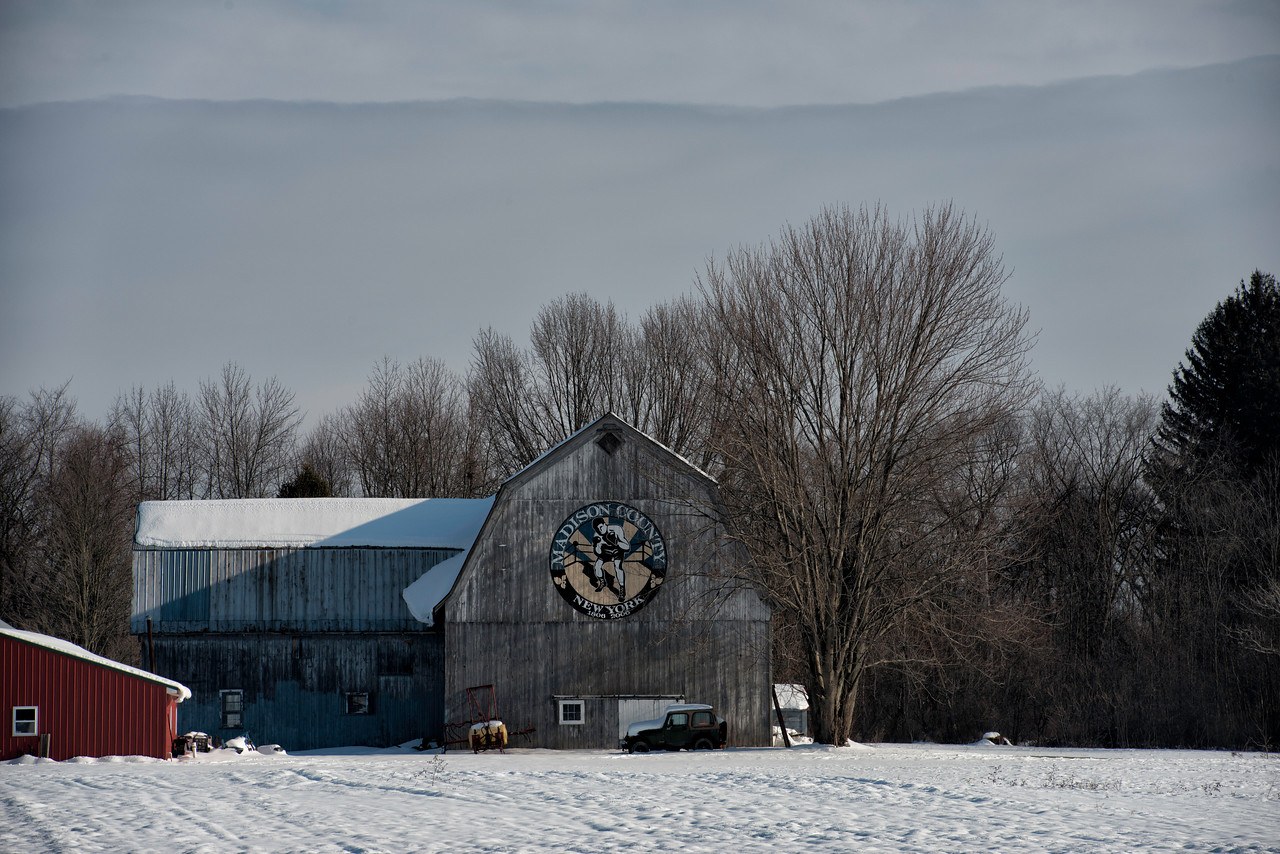 Madison County Bicentennial Barn - Town of Lenox. Route 13 North, Canastota.  Just north of the New York State Thurway.