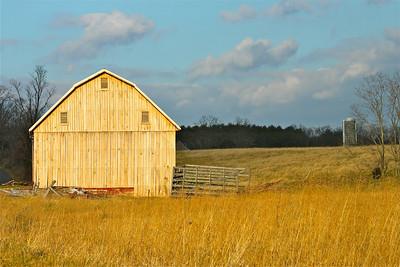 February 17, 2013. Old barn in golden light. Berkeley Springs, WV