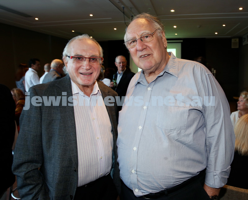 Barry Joseph's farewell function at the RMYC. Henry Benjamin & Geoff Cowen. Pic Noel Kessel.