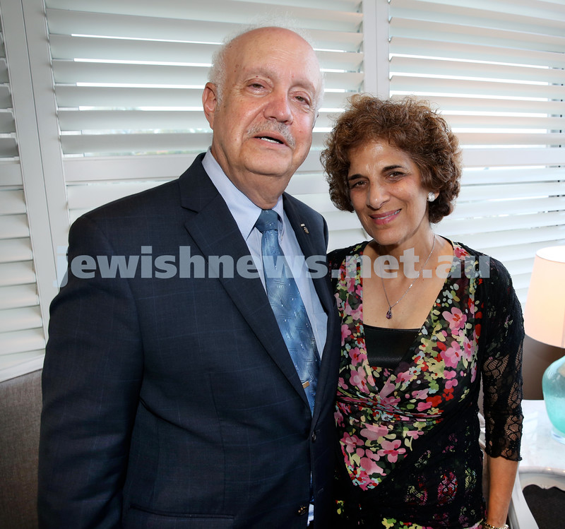 Barry Joseph's farewell function at the RMYC. Rabbi Sanford Shudnow and his wife Yael. Pic Noel Kessel.
