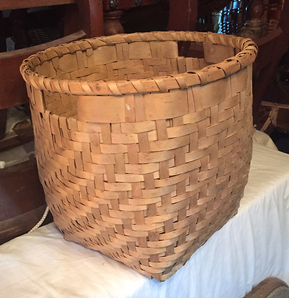 Seneca split ash pack basket given to Ted Bartlett by Jesse and Elsina Cornplanter, one of five such baskets given to the Bartlett family by the Cornplanter family.