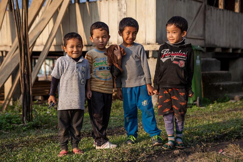 Children stopped for photo at Basar, Arunachal Pradesh, India