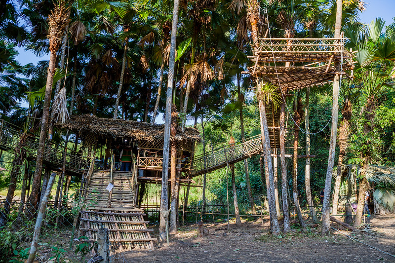 Tree house made of bamboo at the venue of the Basar Confluence, BasCon, Basar, Arunachal Pradesh, India