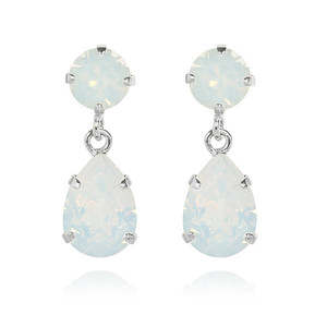 Mini Drop Earrings / White Opal Rhodium