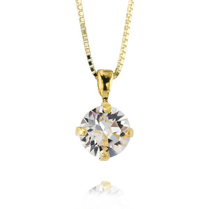 Petite Stud Necklace / Crystal Gold