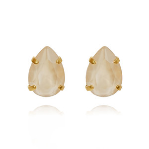 Mini Drop Stud Earrings / Ivory Cream Gold