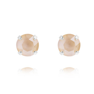 Petite Stud Earrings / Ivory Cream Rhodium