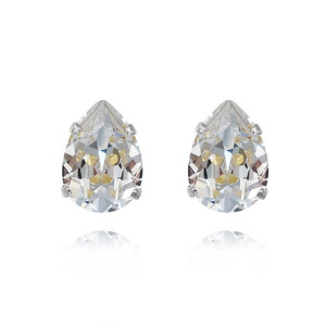 Mini Drop Stud Earrings / Crystal Rhodium