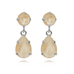 Mini Drop Earrings / Ivory Cream Rhodium