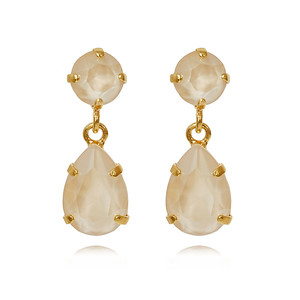 Mini Drop Earrings / Ivory Cream Gold