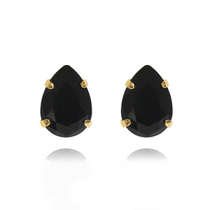 Mini Drop Stud Earrings / Jet Gold
