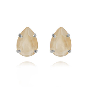 Mini Drop Stud Earrings / Ivory Cream Rhodium