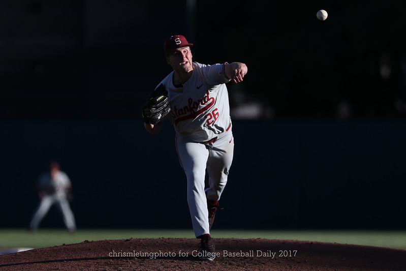 6/3/17: NCAA Regionals Stanford vs Fullerton at Klein Field at Sunken Diamond in Palo Alto, CA <br /> Stanford Cardinal pitcher Erik Miller (26)<br /> <br /> Image by Chris M. Leung for College Baseball Daily